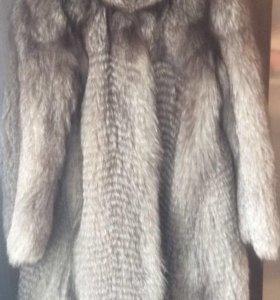 Шуба натуральный мех, чернобурка, с капюшоном