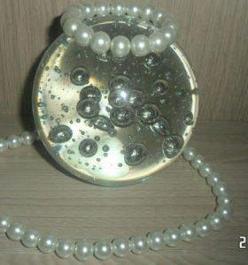 Бусы, браслет и сережки гвоздики (набор)