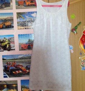 Белое х/б платье 44-46 размера