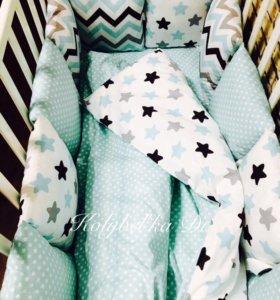 Бортики-подушки.Комплект в детскую кроватку