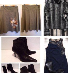 Юбка кожаные ботинки весна платье и блузка