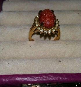 Кольцо перстень позолота