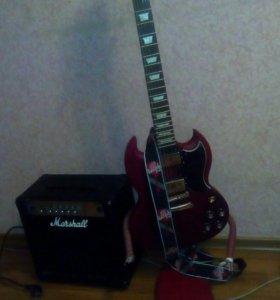 Гитара+комбоусилитель+шнур+ремень