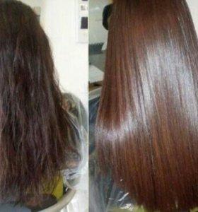 Кератиновое выпрямление и востанавление волос.