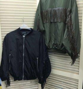 Куртка бомбер с бахромой