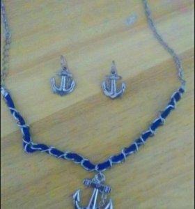 Комплект сережки + цепочка