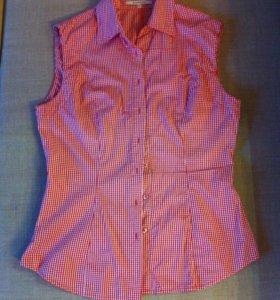 Рубашка без рукавов в клеточку