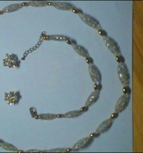 Комплект цепочка+ браслет + сережки