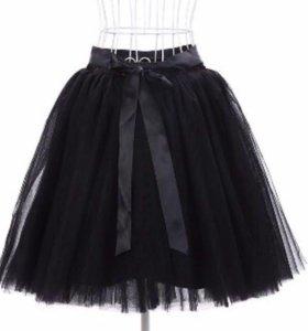 Чёрная женская юбка фатин с поясом