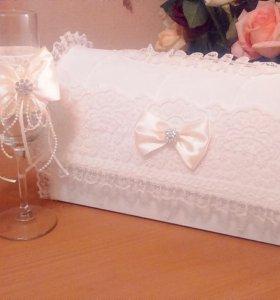 Свадебный Набор (сундучок,бокалы,наряд для бутылок