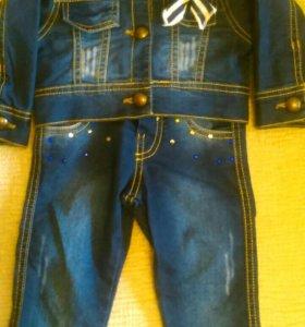 Джинсовый костюм 1-1,5 года