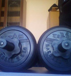 новые Гантели Titan Barbell 2шт. по 10.5 кг.