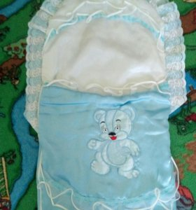 Конверт на выписку +одеяло(уголок) + чепчик