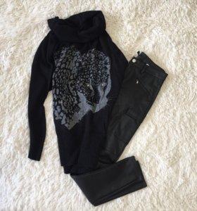 Свитер туника и кожаные штаны