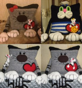 Декоративная подушка Кот с мышкой