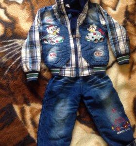 Джинсовый костюм весенний на мальчика 1-2 года