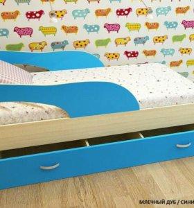 Кровать Радуга голубая