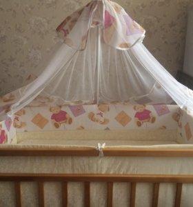 Кроватка+матрац+комплект