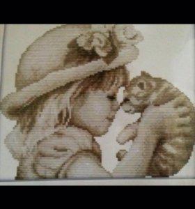 """Набор для вышивания """"Девочка и Кот"""""""