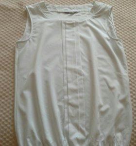 Блузка белая без рукавов школьная
