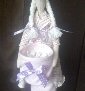 Кукла Тильда держатель ватных палочек и дисков