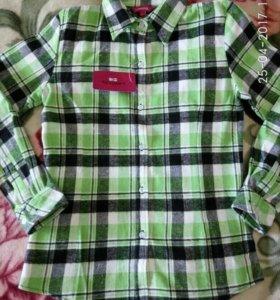 Новая байковая рубашка р.164-170