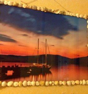 Картина, рамочка из ракушек 55*75