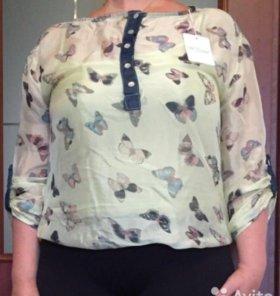 Блузка с бабочками. Новая