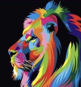 Картина по номерам-радужный лев в профиль
