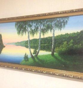 Картина - закат на озере
