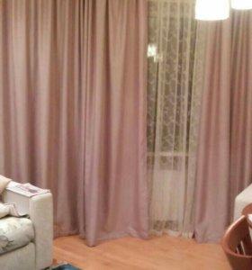 Новые шторы цвет розовая пудра, ткань под велюр