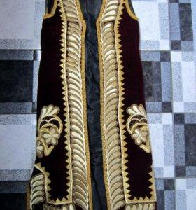 Халат чапан праздничный, тюбетейка, веер, туфли
