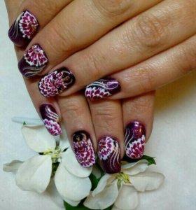 Маникюр , наращивание ногтей акрил , роспись