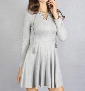 Платье Серое Замша