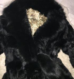 Шуба из кролика, с шикарным мехом лисы. XXXL