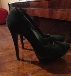 Туфли чёрный замшевые