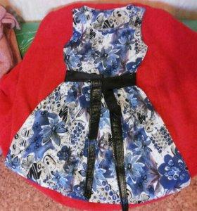 Платье летнее р.46-48 голубое