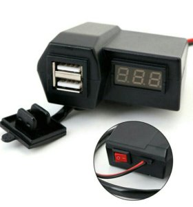 Розетка выход 2 USB с вольтметром и выключателем