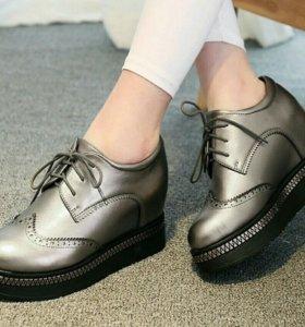 Новые! ботинки (ботильоны) на платформе серебряные