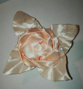 Заколка для волос, абрикосовая роза