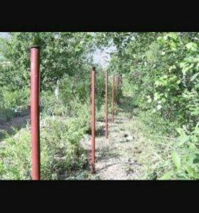 Забивание столбов под забор