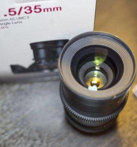 Samyang 35mm T1.5 + UV фильтр