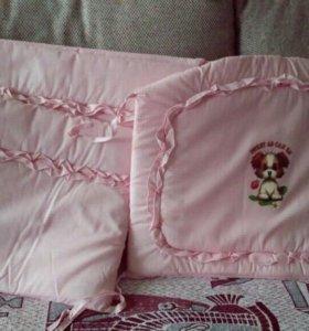 Бортик и матрац в детскую кроватку