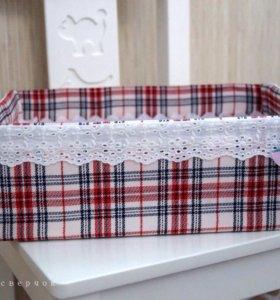 Интерьерная коробка из ткани.