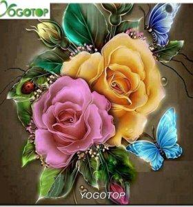 Набор алмазной мозаики Цветы с бабочками