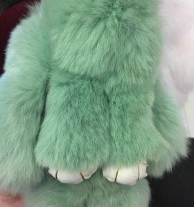 Брелок кролик натуральный мех