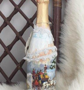 Декорация бутылок с шампанским к празднику !