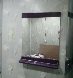 Тумба мойка, со смесителем и зеркалом