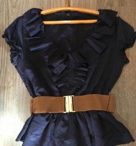 Блуза с баской и поясом 44 размер