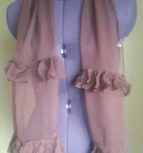 Палантин шарф новый коричневый и черный